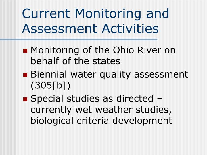 Current Monitoring and Assessment Activities