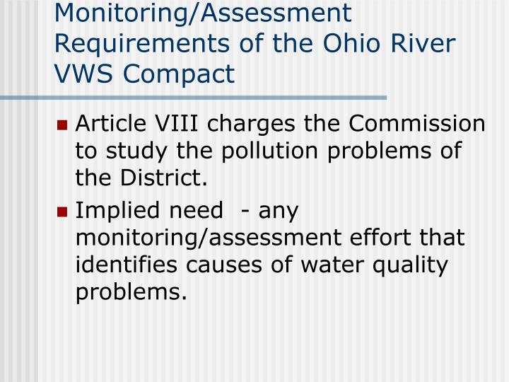 Monitoring/Assessment Requirements of the Ohio River VWS Compact