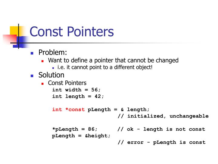 Const Pointers