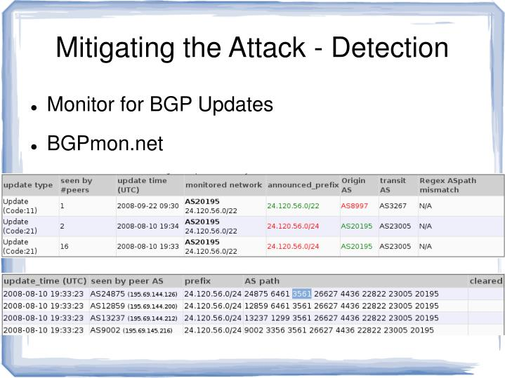 Mitigating the Attack - Detection