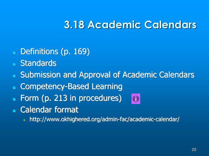 3.18 Academic Calendars