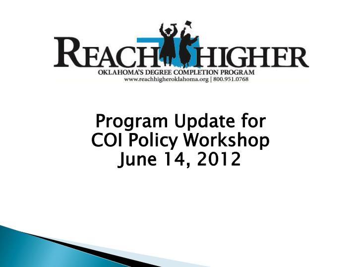 Program Update for
