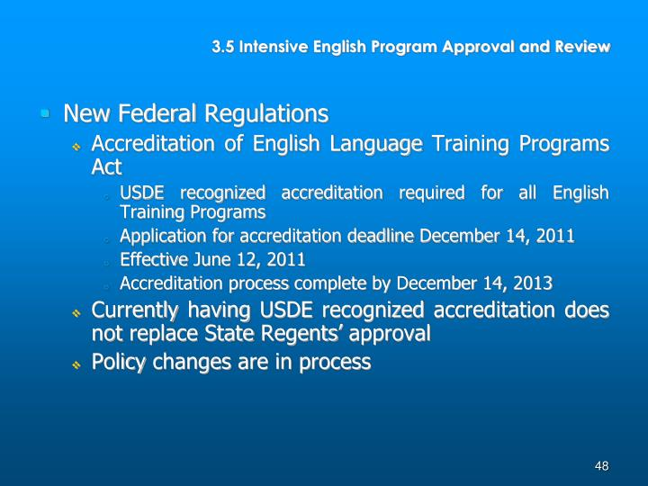 3.5 Intensive English Program Approval and Review