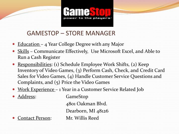 gamestop store manager