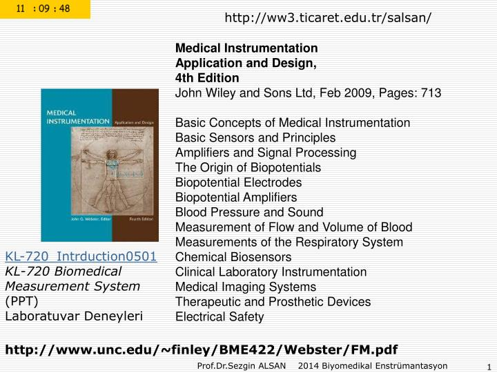 Ppt Medical Instrumentation Application And Design 4th Edition Powerpoint Presentation Id 7088494