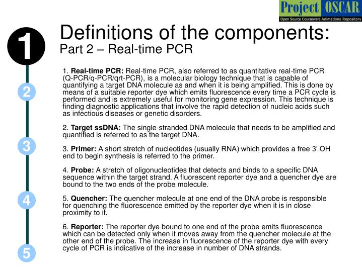 Definitions of the components: