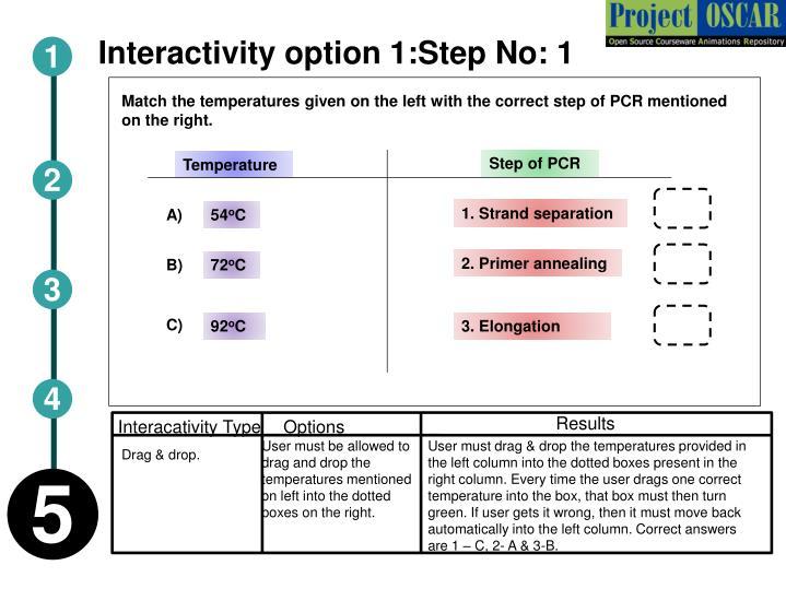 Interactivity option 1:Step No: 1
