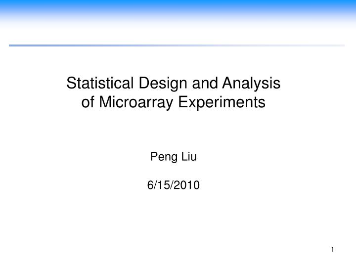 Statistical Design and Analysis