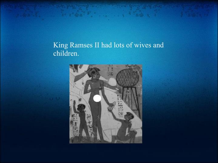 King RamsesII had lots of wives and children.