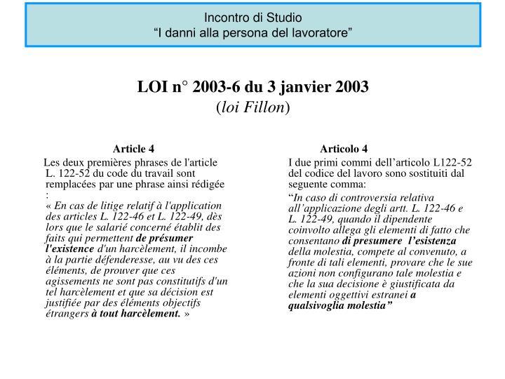 Loi n 2003 6 du 3 janvier 2003 loi fillon