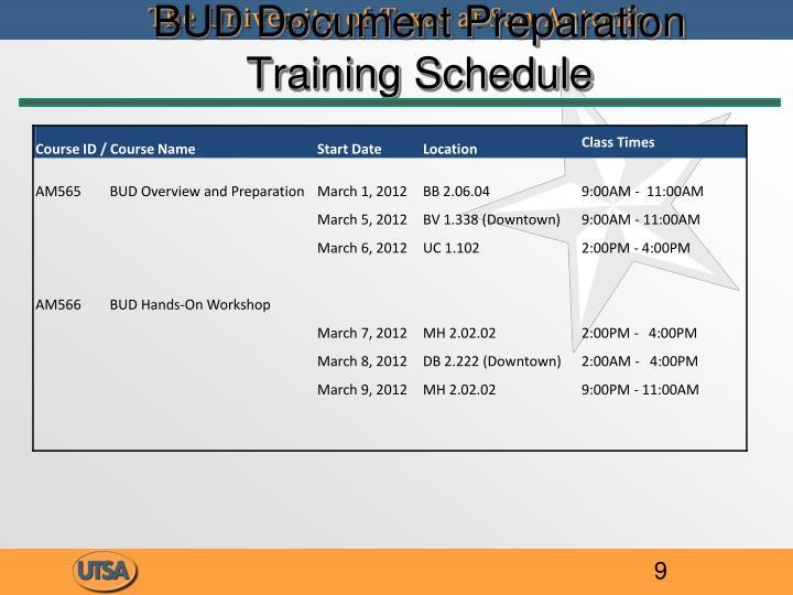 BUD Document Preparation