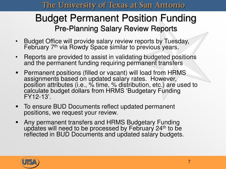Budget Permanent Position Funding