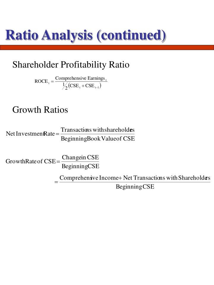 Ratio Analysis (continued)