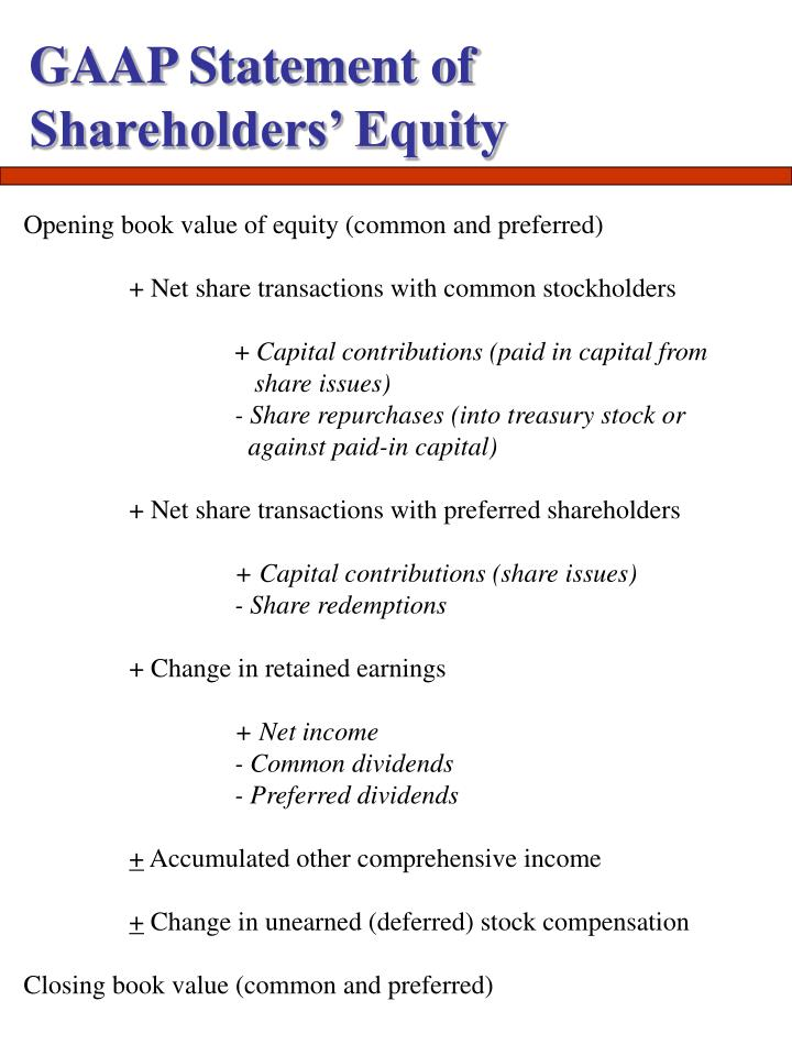 GAAP Statement of Shareholders' Equity
