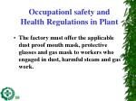 occupationl safety and health regulations in plant2