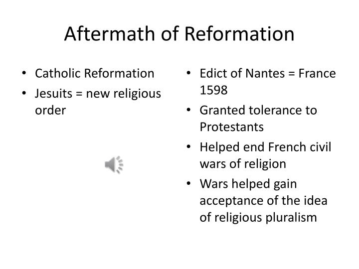Aftermath of Reformation