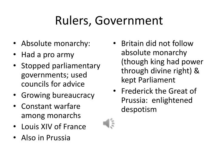 Rulers, Government