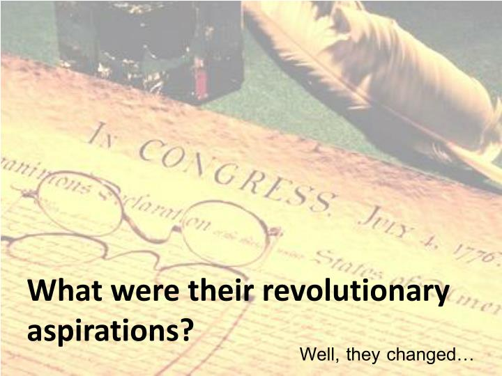 What were their revolutionary aspirations?