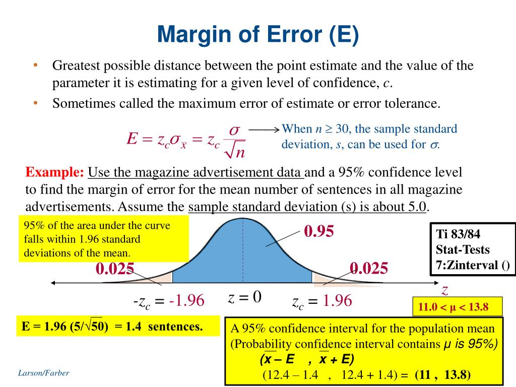 PPT - 6 1 Confidence Interval for the Mean ( n  30 or σ