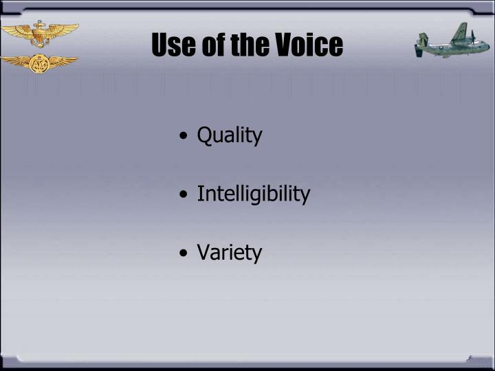 Use of the Voice
