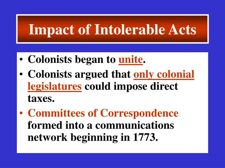 Impact of Intolerable Acts