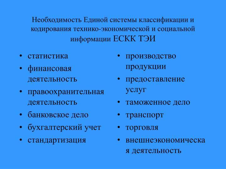 Кодирования технико экономической и социальной