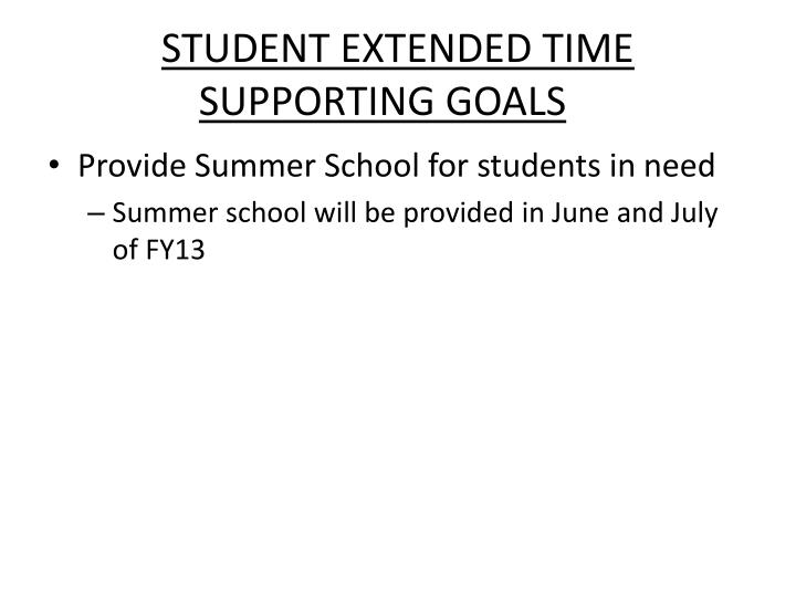 STUDENT EXTENDED TIME SUPPORTING GOALS