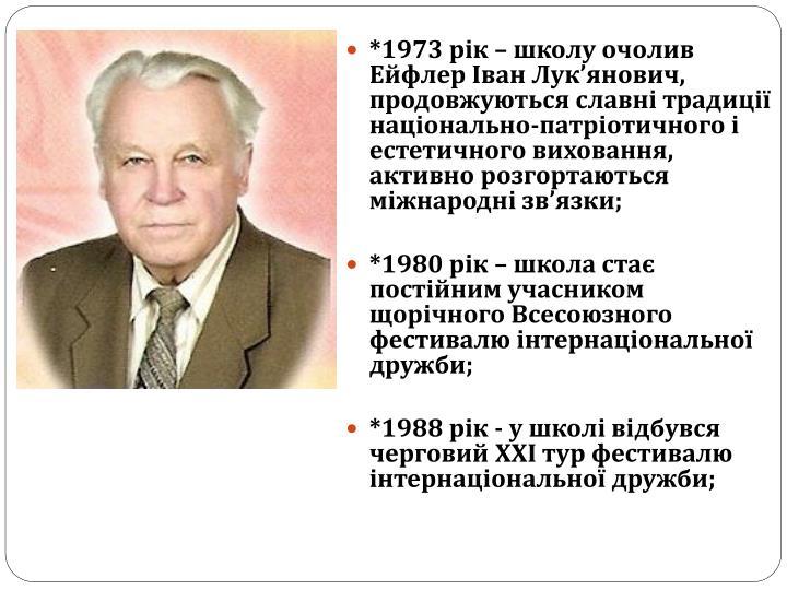 *1973 рік – школу очолив