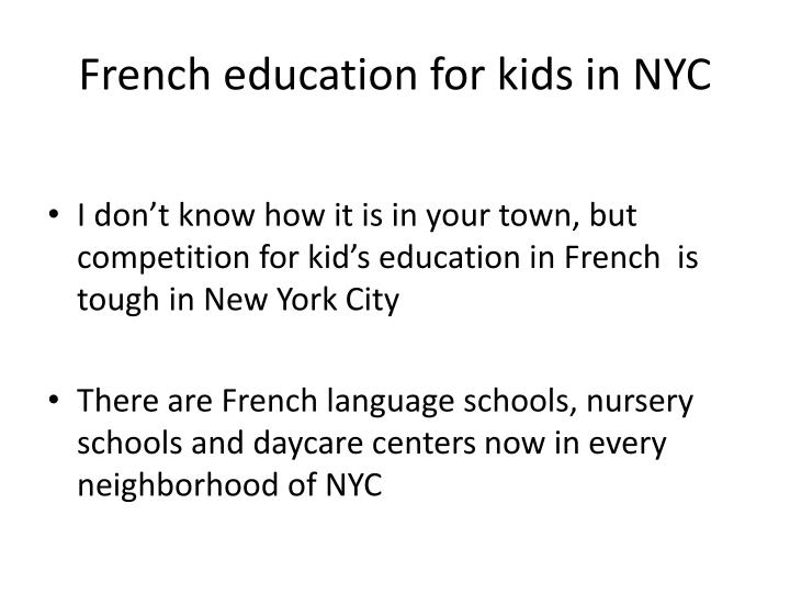French education for kids in NYC