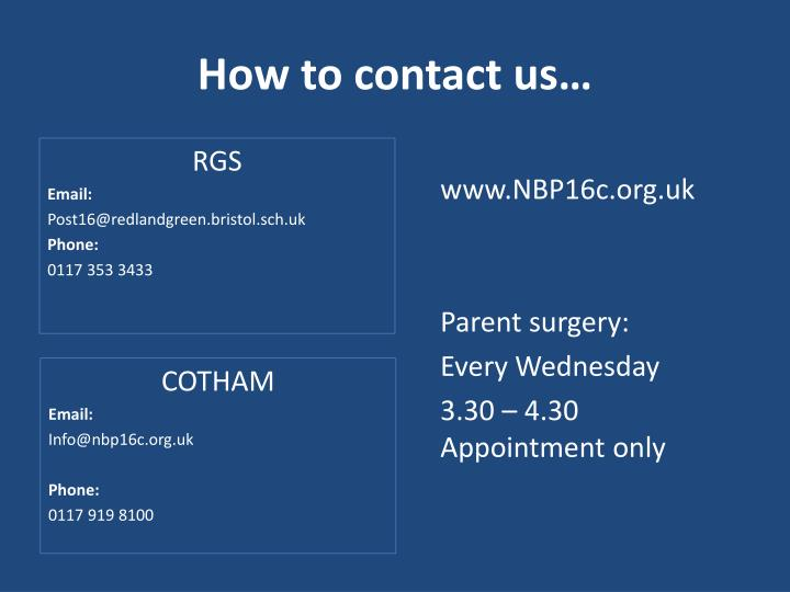 How to contact us…