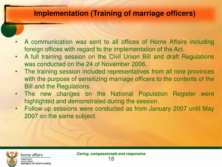 Implementation (Training of marriage officers)