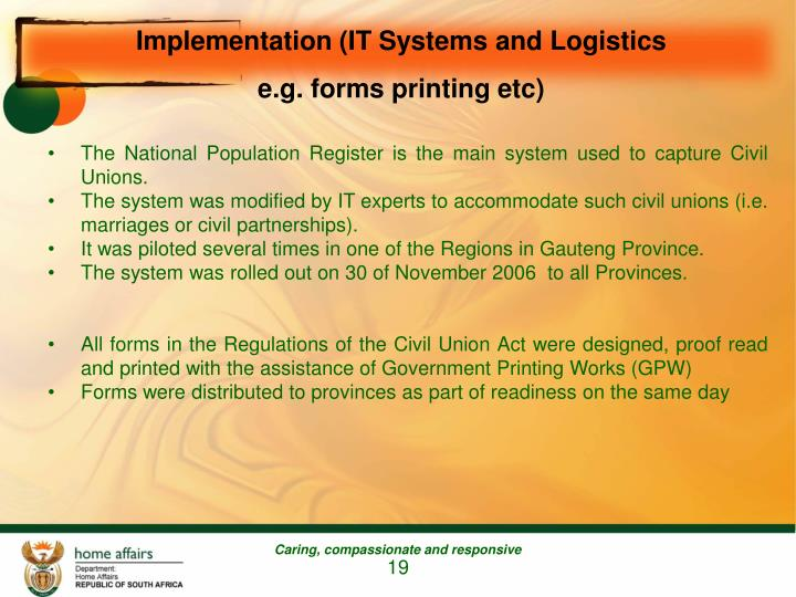 Implementation (IT Systems and Logistics