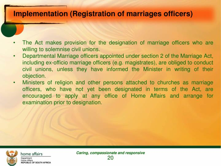 Implementation (Registration of marriages officers)