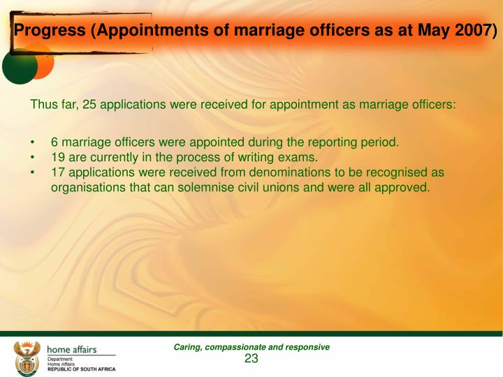 Progress (Appointments of marriage officers as at May 2007)