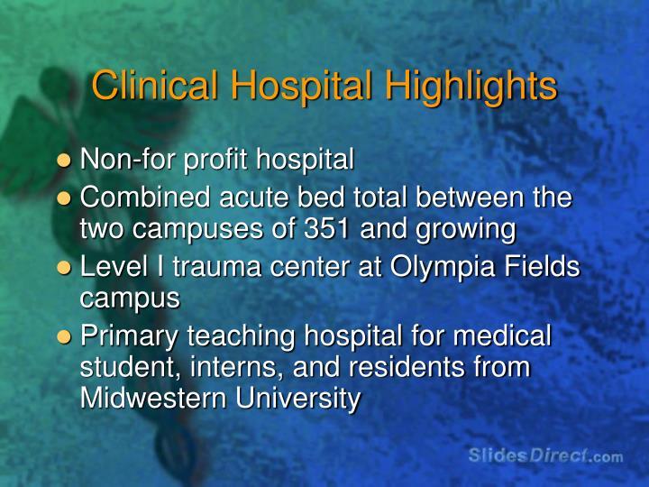 Clinical Hospital Highlights