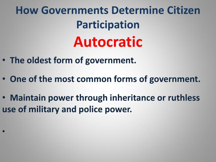 How Governments Determine Citizen Participation
