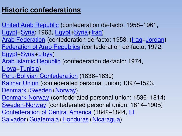 Historic confederations