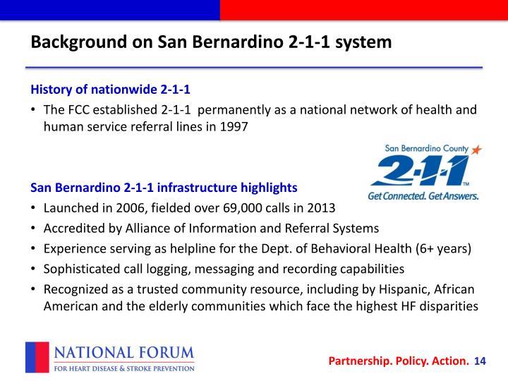 Background on San Bernardino 2-1-1 system
