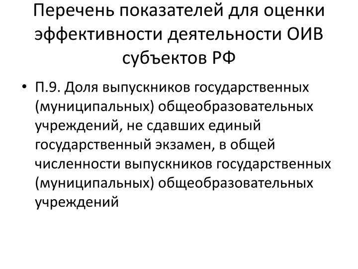 Перечень показателей для оценки эффективности деятельности ОИВ субъектов РФ