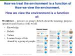 how we treat the environment is a function of how we view the environment1