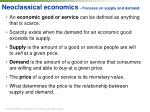 neoclassical economics focuses on supply and demand