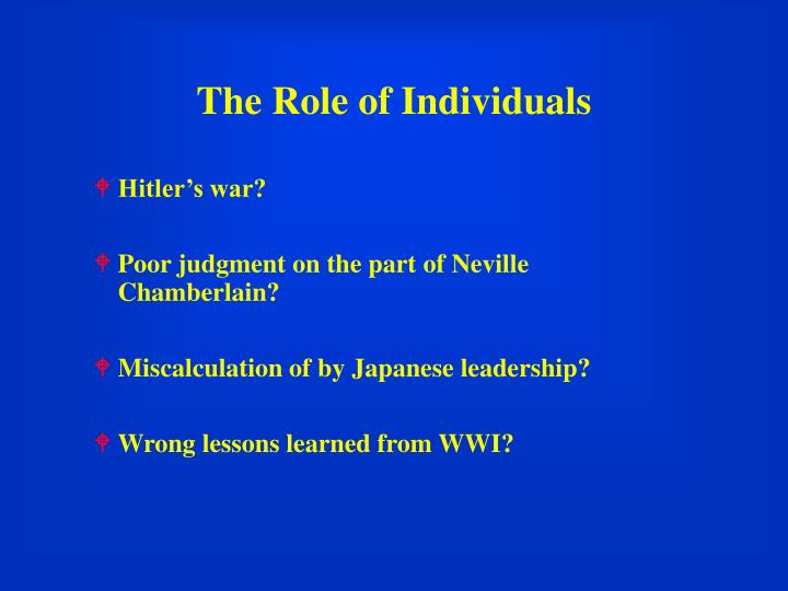 The Role of Individuals