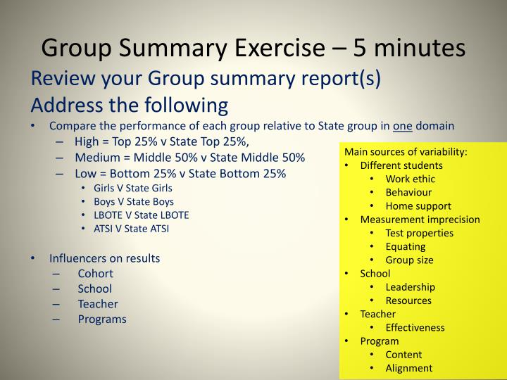 Group Summary Exercise – 5 minutes