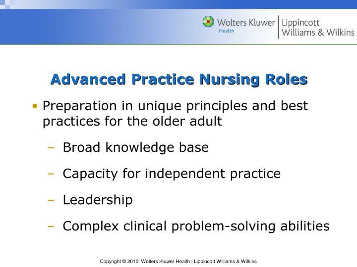 Advanced Practice Nursing Roles