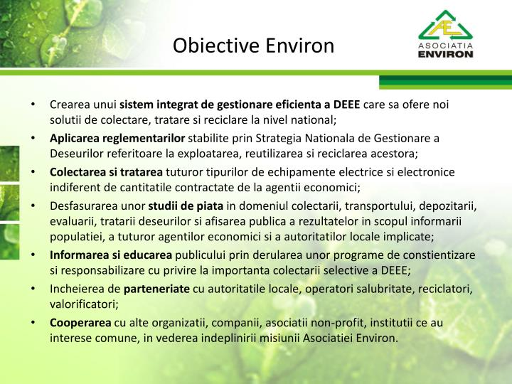 Obiective Environ