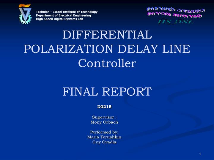 differential polarization delay line controller final report n.