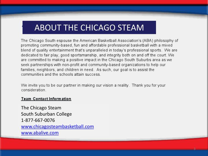 ABOUT THE CHICAGO STEAM
