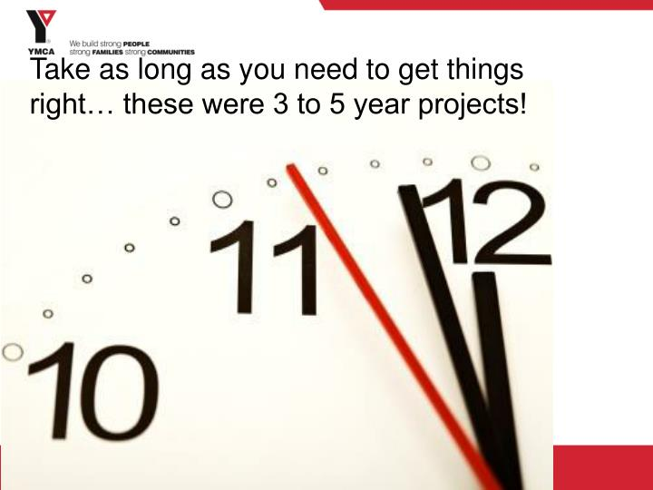 Take as long as you need to get things right… these were 3 to 5 year projects!