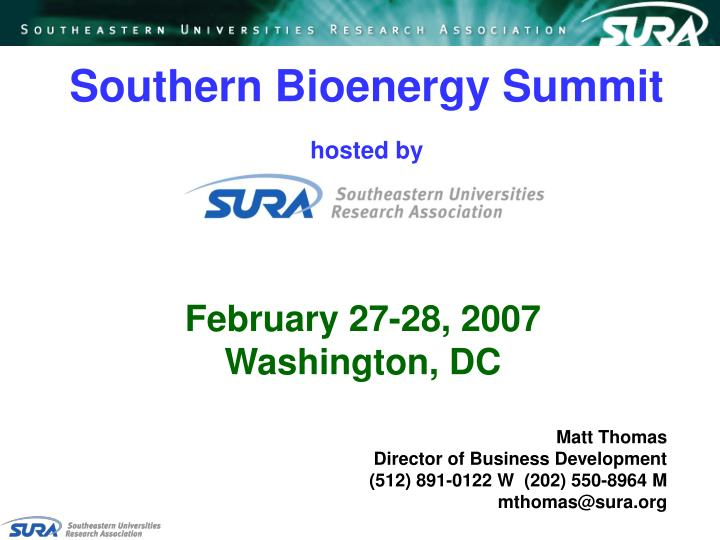 Southern bioenergy summit hosted by