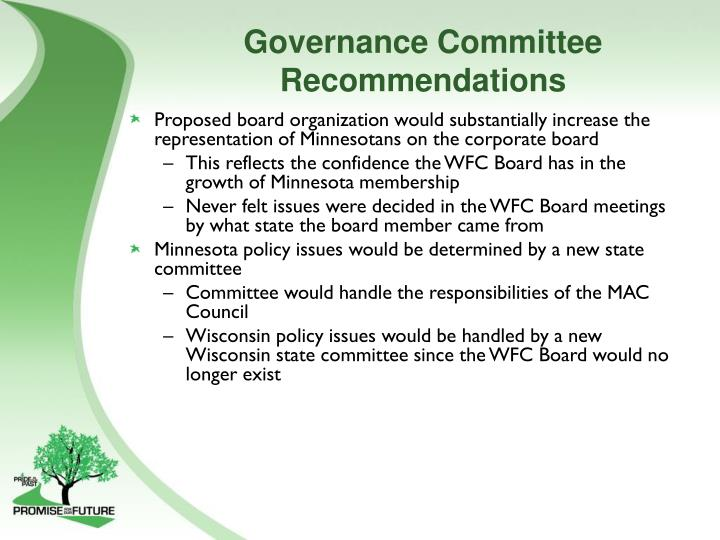 Governance Committee Recommendations